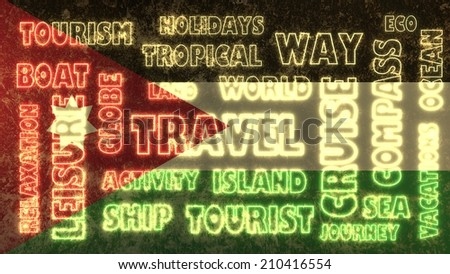 travel related tags cloud on jordan national flag - stock photo