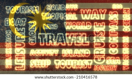travel related tags cloud on malaysia national flag - stock photo