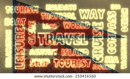 travel related tags cloud on nepal national flag - stock photo