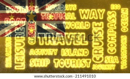 travel related tags cloud on niue national flag - stock photo