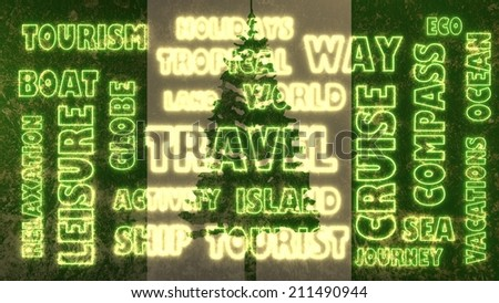 travel related tags cloud on norfolk islands national flag - stock photo