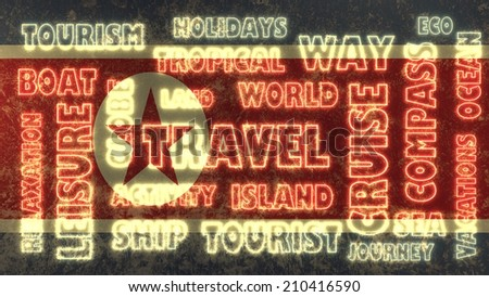 travel related tags cloud on north korea national flag - stock photo