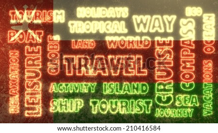 travel related tags cloud on oman national flag - stock photo