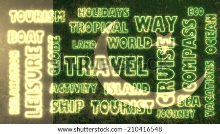 travel related tags cloud on pakistan national flag - stock photo