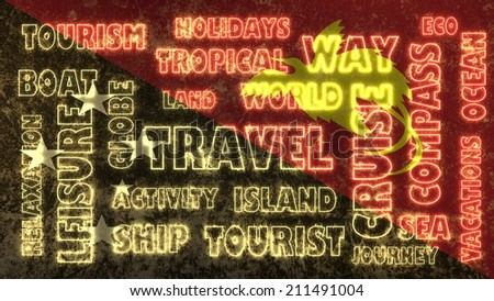 travel related tags cloud on papua new guinea national flag - stock photo