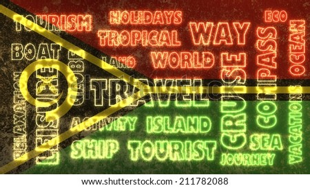 travel related tags cloud on vanuatu national flag - stock photo