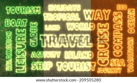 travel relative tags cloud on ireland national flag - stock photo