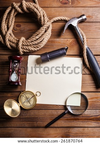 Travel. scientific expedition background - stock photo