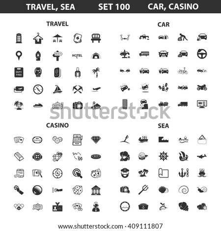 Travel, sea, casino set 100 black simple icons. Car, hotel icon design for web and mobile device.