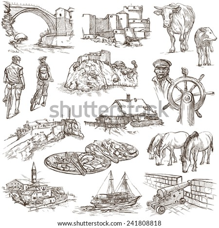 Travel series: Former Republics of YUGOSLAVIA - Collection of an hand drawn illustrations (pack no.1). Description: Full sized hand drawn illustrations drawing on white background. - stock photo