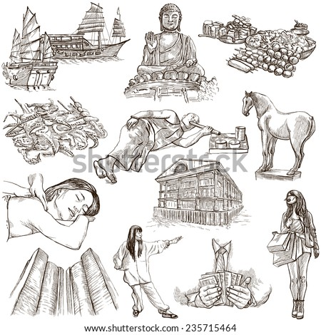 Travel series: HONG KONG - Collection (no.1) of an hand drawn illustrations. Description: Full sized hand drawn illustrations drawing on white background. - stock photo