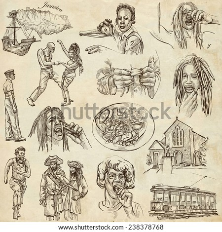 Travel series: JAMAICA - Collection (no.3) of an hand drawn illustrations. Description: Full sized hand drawn illustrations drawing on old paper. - stock photo