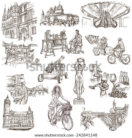 Travel series: LUXEMBOURG (pack no.1) - Collection of an hand drawn illustrations. Description: Full sized hand drawn illustrations drawing on white background. - stock photo