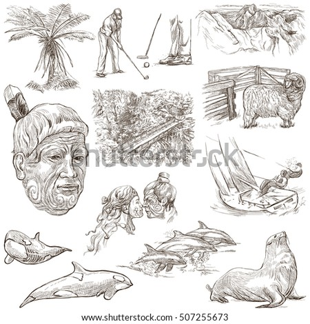 Travel series, NEW ZEALAND. Pictures of Life. Collection of an hand drawn illustrations. Pack of full sized hand drawn illustrations. Set of freehand sketches. Drawing on white.
