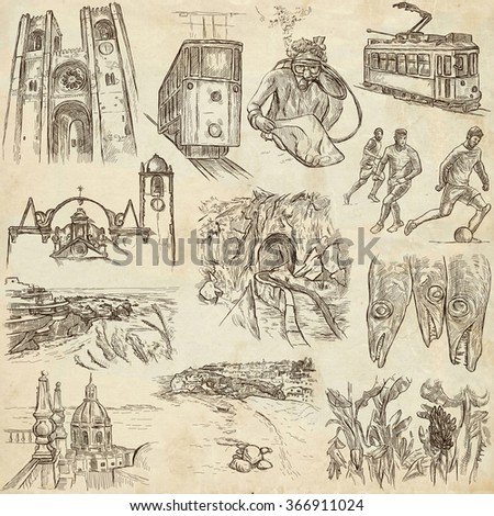 Travel series, PORTUGAL - Pictures of Life. Collection of an hand drawn illustrations. Description, Full sized hand drawn illustrations (freehand sketches). Drawing on old paper. - stock photo