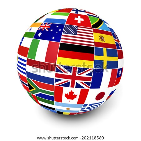 Travel, services and international business management concept with a globe and international flags of the world on white background. - stock photo