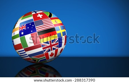 Travel, services, education and international business management concept with a globe and international flags of the world on blue background with copy space. - stock photo