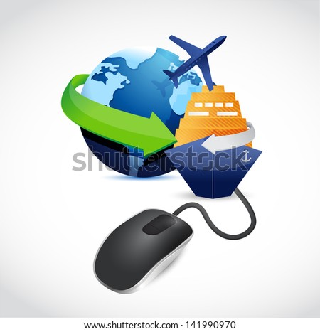 travel sign connected to mouse illustration design over white - stock photo