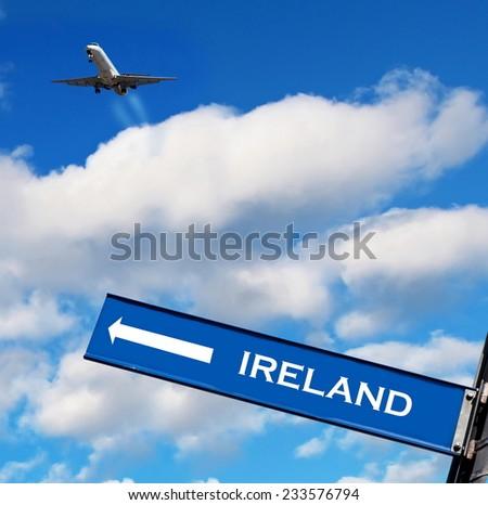 travel sign on sky,travel to Ireland - stock photo