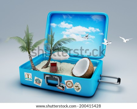 Travel suitcase. beach vacation concept - stock photo