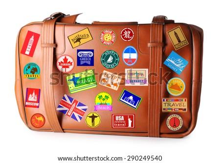 Travel suitcase isolated on white - stock photo