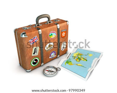 Travel suitcase compass world map computer stock illustration travel suitcase with compass and world map computer generated image gumiabroncs Image collections