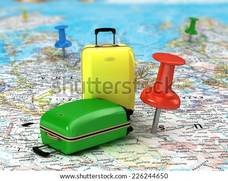 Travel Suitcase with pushpins  and world map.  - stock photo
