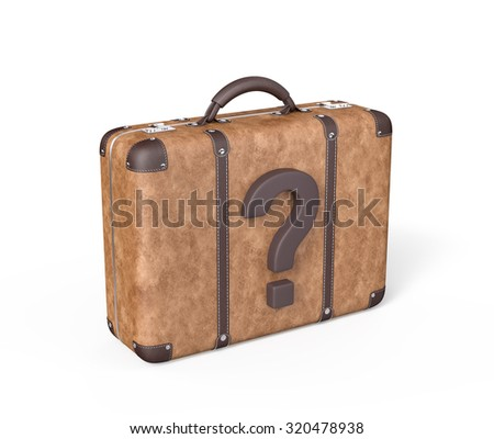 Travel Suitcase with Question Mark , Isolated on white , 3d render - stock photo