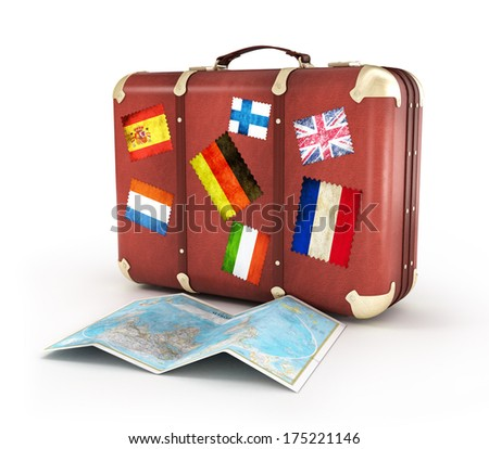 Travel suitcase stickers world map isolated stock illustration travel suitcase with stickers and world map isolated gumiabroncs Image collections