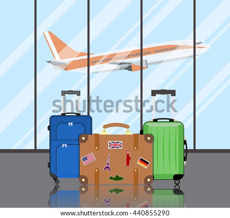 Travel suitcases in airport  - stock photo