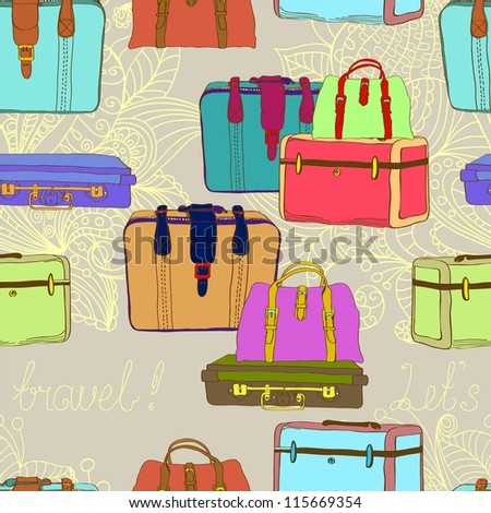 travel suitcases seamless illustration - stock photo