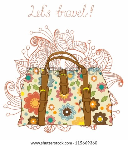 Travel Suitcases with floral pattern Background, illustration - stock photo