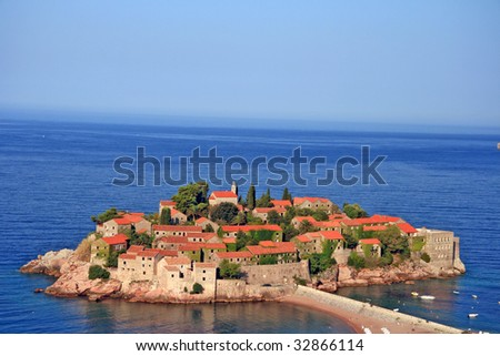 Travel. Summer in Montenegro. Sveti Stefan