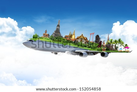 travel thailand by airplane, concept - stock photo