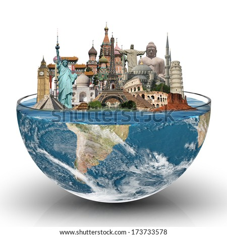 Travel the world glass monument concept - stock photo