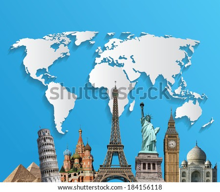 Travel. The world monument concept. Extremely detailed image  - stock photo