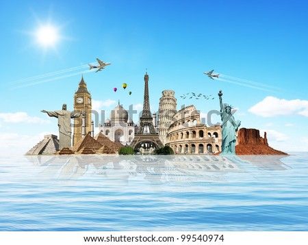 Travel the world monuments concept water - stock photo