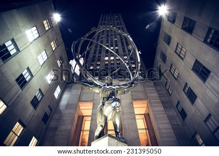 travel through the night to New York - stock photo