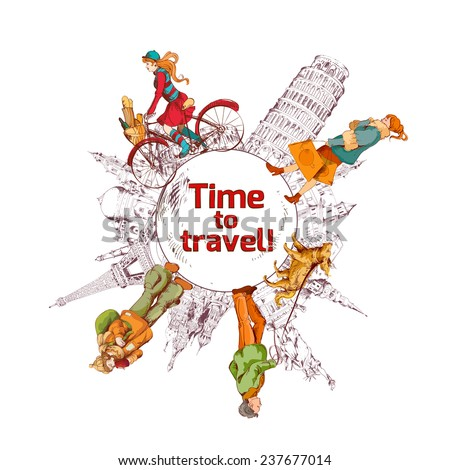 Travel time sketch colored poster with world landmarks and people  illustration - stock photo