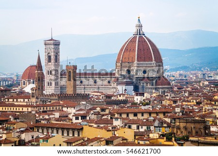 travel to Italy - above view of Duomo in Florence city from Piazzale Michelangelo in autumn evening