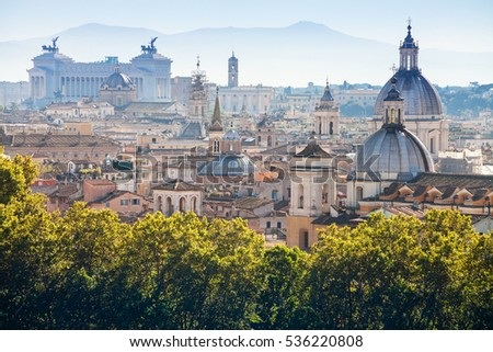 travel to Italy - above view of historic center of Rome city in side of Capitoline Hill from Castle of St Angel