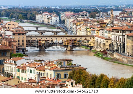 travel to Italy - above view of Ponte Vecchio in Florence town from Piazzale Michelangelo