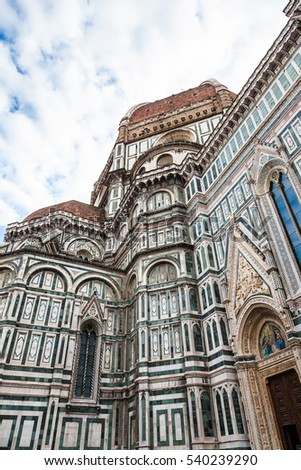 travel to Italy - ornamental walls and dome of Duomo Cathedral Santa Maria del Fiore in Florence city