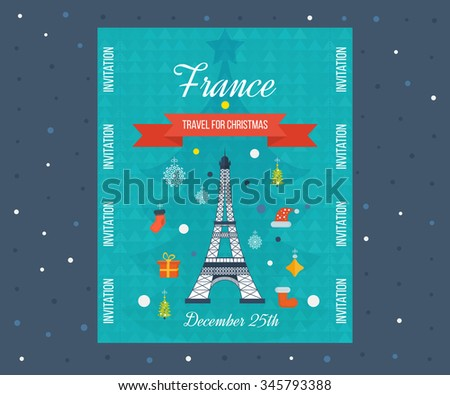 Travel to Paris for christmas. Cute invitation card with winter city life and space for text. Merry Christmas greeting card design. France Christmas and New Year. Flyer, Brochure Design Templates. - stock photo