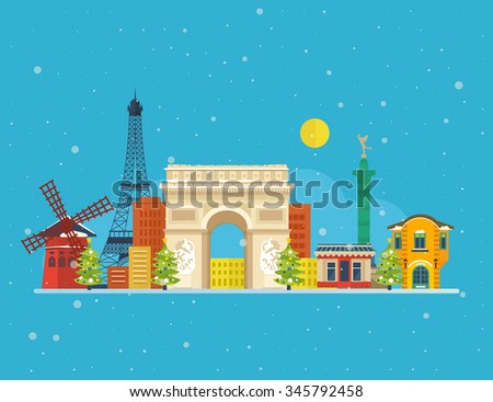 Travel to Paris for christmas. Cute invitation card with winter city. Merry Christmas greeting card design. Paris Christmas winter. France Christmas and New Year. City in the winter. Winter season.  - stock photo