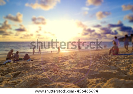 Travel to Thailand beach.Phuket sunset scenery.Seascape and relax time concept.Phuket beach and sunset.Background holidays concept. - stock photo