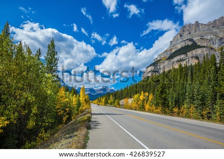 Travel to the Bow River Canyon in September. Excellent highway and surrounded by autumnal woods. Canadian Rockies, Great Banff
