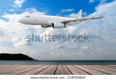 Travel to the tropical countries by plane - stock photo