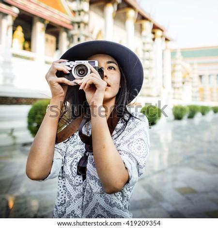 Travel Tourism Camera Photograph Wanderlust Concept - stock photo