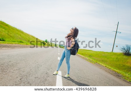 travel tourist .  An attractive young woman is traveling